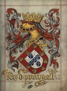 Coat of arms of the King of Portugal in the Livro do Armeiro Mor (1509) f.10r